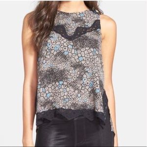 ASTR Lace Detail High/Low Tank Blouse